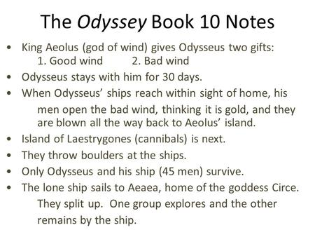 the oddessey chapter 10 summary Free book 10 summary of the odyssey by homer get a detailed summary and analysis of every chapter in the book from bookragscom.