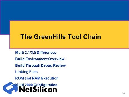 The GreenHills Tool Chain