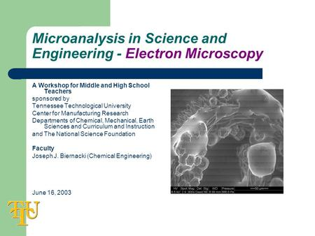 Microanalysis in Science and Engineering - Electron Microscopy A Workshop for Middle and High School Teachers sponsored by Tennessee Technological University.
