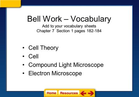 Bell Work – Vocabulary Add to your vocabulary sheets Chapter 7 Section 1 pages 182-184 Cell Theory Cell Compound Light Microscope Electron Microscope.
