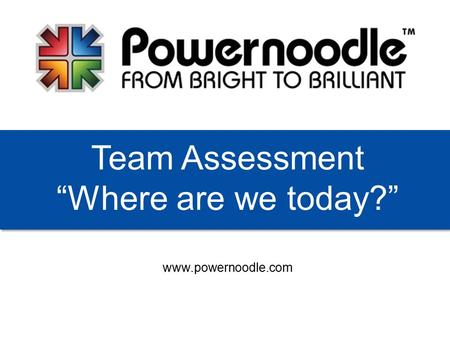 "Www.powernoodle.com Team Assessment ""Where are we today?"""