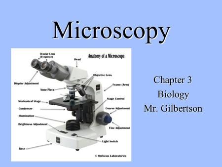 "Microscopy Chapter 3 Biology Mr. Gilbertson. DISCOVERY OF CELL PRECEDED BY THE INVENTION OF THE MICROSCOPE ROBERT HOOKE - NAMED ""CELLS"" BECAUSE THEY LOOKED."