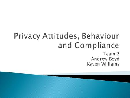 Team 2 Andrew Boyd Kaven Williams.  Privacy, Security and Compliance Issues  Current State of Research  Implications  Areas of Research Opportunity.