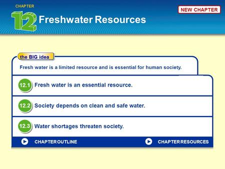 Freshwater Resources CHAPTER the BIG idea CHAPTER OUTLINE Fresh water is a limited resource and is essential for human society. Fresh water is an essential.