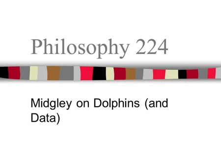 Philosophy 224 Midgley on Dolphins (and Data). Sample Reading Quiz True or False: The Judge in the dolphin rescue case found that dolphins were persons,
