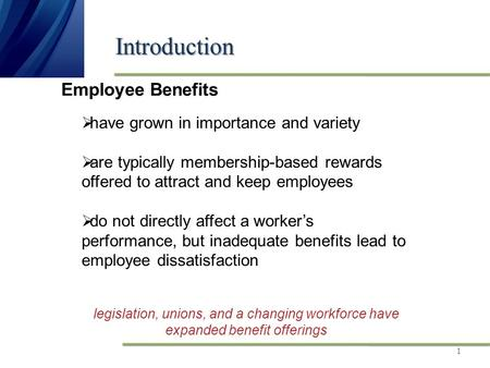 Introduction 1 legislation, unions, and a changing workforce have expanded benefit offerings Employee Benefits  have grown in importance and variety 