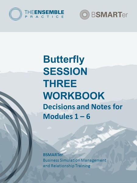Butterfly SESSION THREE WORKBOOK Decisions and Notes for Modules 1 – 6 BSMARTer Business Simulation Management and Relationship Training.