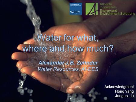 Water for what, where and how much? Alexander J.B. Zehnder Water Resources, AI-EES Acknowledgment Hong Yang Junguo Liu.