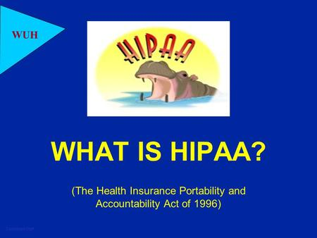 Combined Staff WUH WHAT IS HIPAA? (The Health Insurance Portability and Accountability Act of 1996)