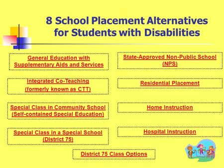 8 School Placement Alternatives for Students with Disabilities Integrated Co-Teaching (formerly known as CTT) General Education with Supplementary Aids.