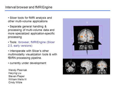 Interval browser and fMRIEngine Slicer tools for fMRI analysis and other multi-volume applications Separate general handling & processing of multi-volume.