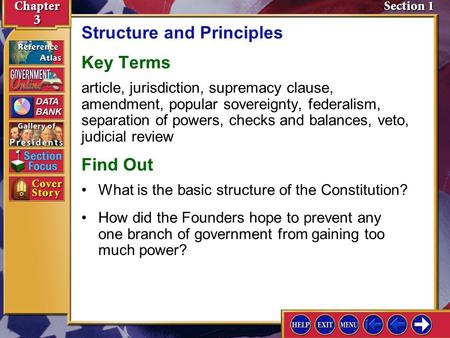 Section 1 Introduction-1 Structure and Principles Key Terms article, jurisdiction, supremacy clause, amendment, popular sovereignty, federalism, separation.