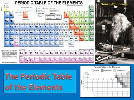 Dmitri Mendeleev A Russian chemist named Dmitri Mendeleev created the first widely accepted periodic table. He still relied on this idea of 8 groups,