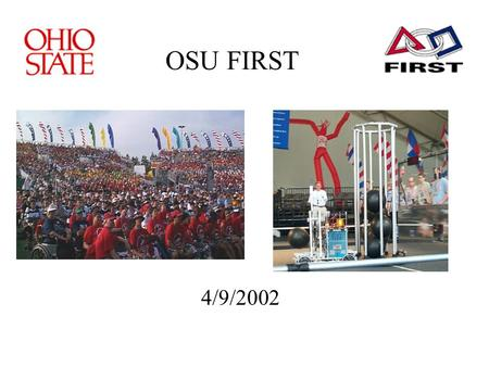 OSU FIRST 4/9/2002. What is FIRST? For Inspiration and Recognition of Science and Technology Started in 1992 Founded by Dean Kamen 2002 Stats: –17 Regional.