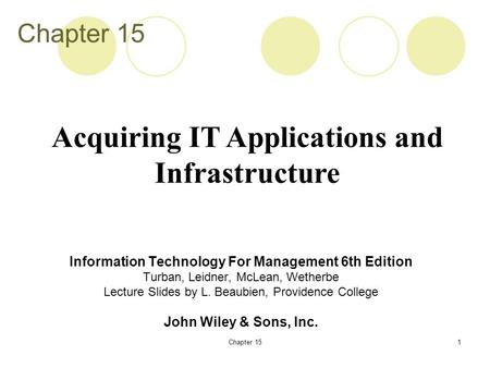 Acquiring IT Applications and Infrastructure