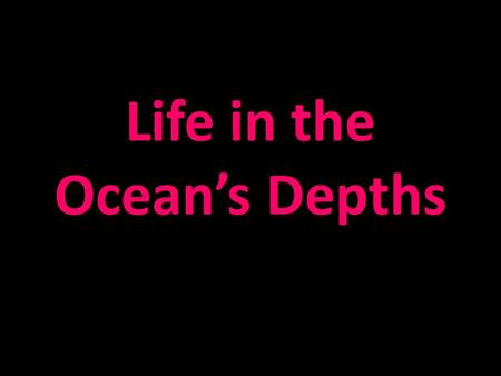 Life in the Ocean's Depths. Survival in the Deep Sea Sunlight fades with increased depth Tremendous pressure of ocean depths – 1 atm at sea level – Increase.