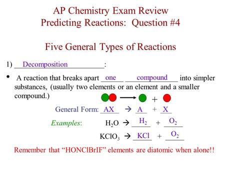 AP Chemistry Exam Review Predicting Reactions: Question #4 Five General Types of Reactions 1) ________________________: A reaction that breaks apart ______.