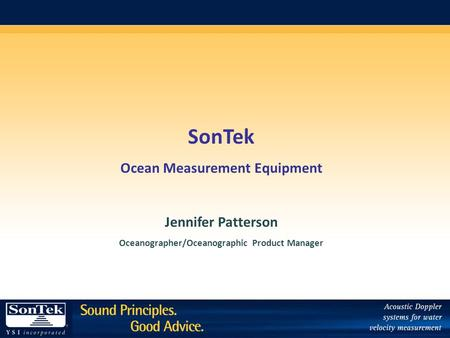 SonTek Ocean Measurement Equipment Jennifer Patterson