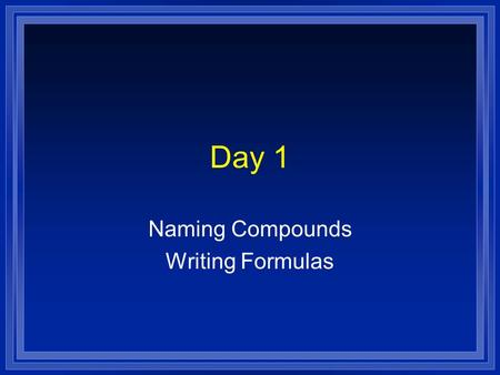 Day 1 Naming Compounds Writing Formulas. SWBAT l Write and name binary and tertinary ionic compounds l Write and name covalent compounds.