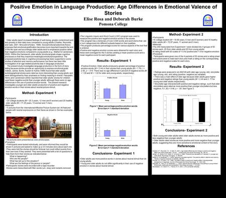 Positive Emotion in Language Production: Age Differences in Emotional Valence of Stories Elise Rosa and Deborah Burke Pomona College The Linguistic Inquiry.