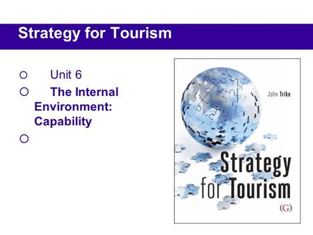  Unit 6  The Internal Environment: Capability  Strategy for Tourism.