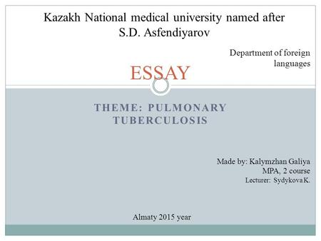 pulmonary tuberculosis essay Pulmonary tuberculosis was considered in this case due to the patient's medical save time and order case study for tuberculosis essay editing for only $139.