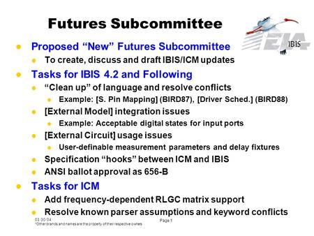 "01/30/04 *Other brands and names are the property of their respective owners Page 1 Futures Subcommittee Proposed ""New"" Futures Subcommittee To create,"