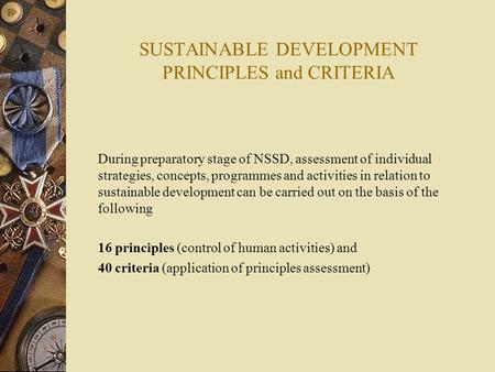 SUSTAINABLE DEVELOPMENT PRINCIPLES and CRITERIA During preparatory stage of NSSD, assessment of individual strategies, concepts, programmes and activities.