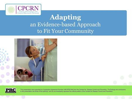 Adapting an Evidence-based Approach to Fit Your Community.