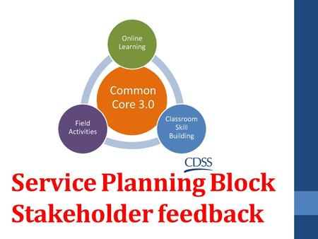 Service Planning Block Stakeholder feedback. Agenda Welcome Orientation Acknowledgements Overview of Common Core 3.0 Overview of Service Planning Block.