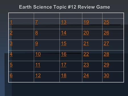 Earth Science Topic #12 Review Game