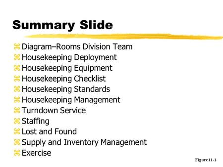 Summary Slide zDiagram–Rooms Division Team zHousekeeping Deployment zHousekeeping Equipment zHousekeeping Checklist zHousekeeping Standards zHousekeeping.