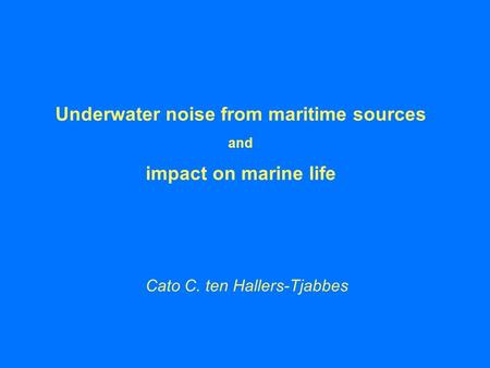 Underwater noise from maritime sources and impact on marine life Cato C. ten Hallers-Tjabbes.