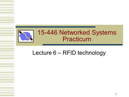 15-446 Networked Systems Practicum Lecture 6 – RFID technology 1.
