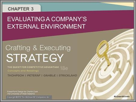 CHAPTER 3 EVALUATING A COMPANY'S EXTERNAL ENVIRONMENT McGraw-Hill/Irwin Copyright ®2012 The McGraw-Hill Companies, Inc.