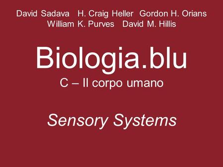 David Sadava H. Craig Heller Gordon H. Orians William K. Purves David M. Hillis Biologia.blu C – Il corpo umano Sensory Systems.