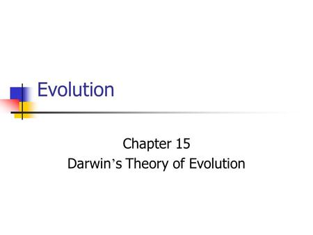 Evolution Chapter 15 Darwin ' s Theory of Evolution.