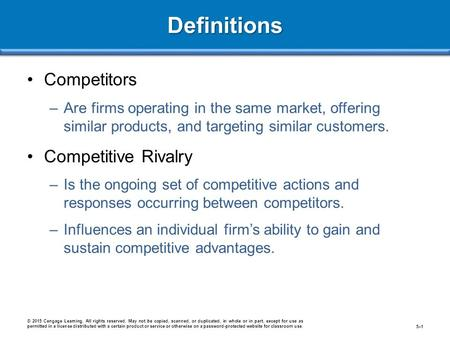 Definitions Competitors –Are firms operating in the same market, offering similar products, and targeting similar customers. Competitive Rivalry –Is the.