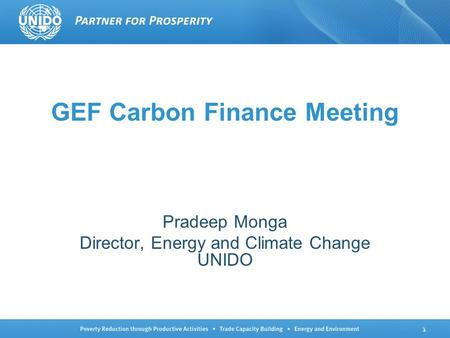 1 GEF Carbon Finance Meeting Pradeep Monga Director, Energy and Climate Change UNIDO.