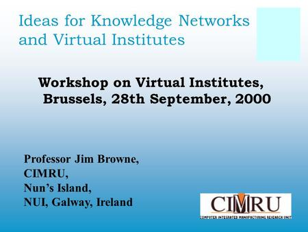 Ideas for Knowledge Networks and Virtual Institutes Workshop on Virtual Institutes, Brussels, 28th September, 2000 Professor Jim Browne, CIMRU, Nun's Island,