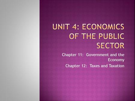 Unit 4: Economics of the Public Sector