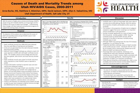 Causes of Death and Mortality Trends among Utah HIV/AIDS Cases, 2000-2011 Anne Burke, MS, Matthew S. Mietchen, MPH, David Jackson, MPH, Allyn K. Nakashima,