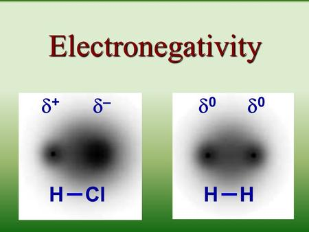 Electronegativity ++ –– 00 00 HClHH The basic units: ionic vs. covalent Ionic compounds form repeating units. Covalent compounds form distinct.