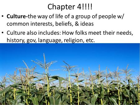 Chapter 4!!!! Culture-the way of life of a group of people w/ common interests, beliefs, & ideas Culture also includes: How folks meet their needs, history,