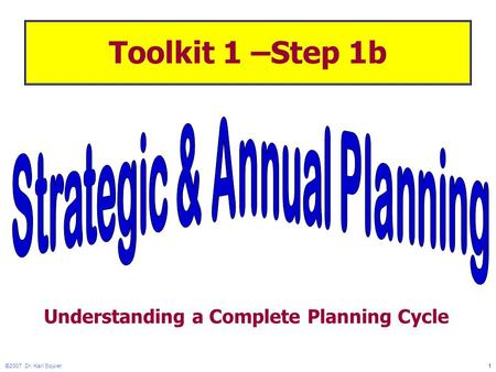 ©2007 Dr. Karl Squier1 Toolkit 1 –Step 1b Understanding a Complete Planning Cycle.