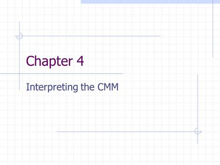 Chapter 4 Interpreting the CMM. Group (3) Fahmi Alkhalifi Pam Page Pardha Mugunda.
