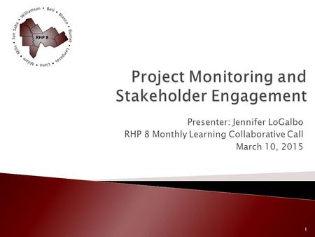 Presenter: Jennifer LoGalbo RHP 8 Monthly Learning Collaborative Call March 10, 2015 1.
