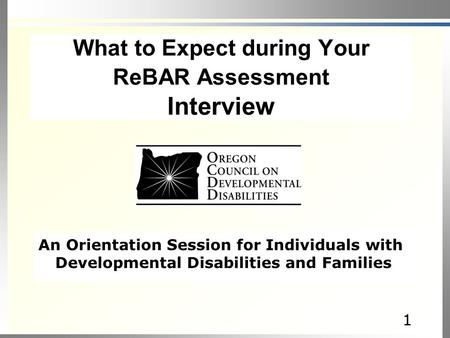 11 An Orientation Session for Individuals with Developmental Disabilities and Families What to Expect during Your ReBAR Assessment Interview.