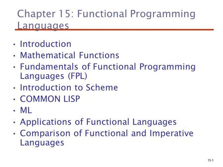 15-1 Chapter 15: Functional Programming Languages Introduction Mathematical Functions Fundamentals of Functional Programming Languages (FPL) Introduction.