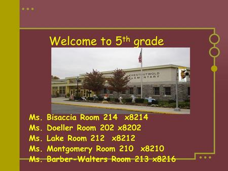 Welcome to 5 th grade Ms. Bisaccia Room 214 x8214 Ms. Doeller Room 202 x8202 Ms. Lake Room 212 x8212 Ms. Montgomery Room 210 x8210 Ms. Barber-Walters Room.